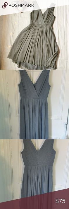 J. Crew grey Frances silk/chiffon bridesmaid dress Gorgeous graphite grey silk & chiffon dress in fantastic condition, style is called Frances. Perfect as a bridesmaid dress, reception wear, or for your next formal event or party. Size 6. Measurements on request. J. Crew Dresses