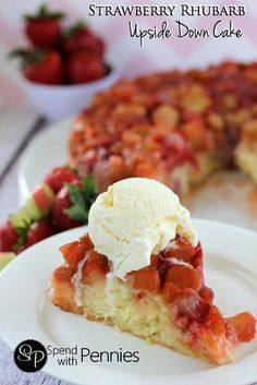 Strawberry Rhubarb Upside Down Cake! Strawberries & rhubarb are good for more than just pie! This easy from scratch cake is a perfect fresh summer dessert!