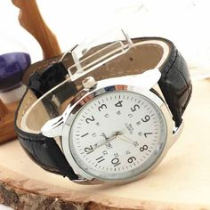 Classic Analog Sports Watches w/PU Leather Strap Quartz; 8 Colors