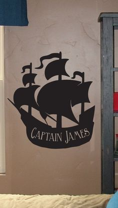 Large Personalized Pirate Ship - Vinyl Wall Decal Stickers Graphic Lettering Decor. $25.00, via Etsy.