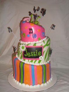 topsy turvy birthday cake, music and dance
