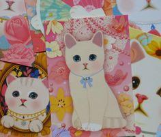 lot 6 cartes postales CHAT thème ANNIVERSAIRE -FLEURS -PAYS DES MERVEILLES kawaï