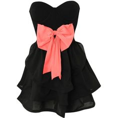 REVERSE Bow Bandeau Dress (720 MXN) ❤ liked on Polyvore featuring dresses, vestidos, robes, short dresses, black dress, black cocktail dresses, black panel dress, black layered dress and short black dresses