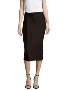 JIL SANDER Solid Cotton-Blend Pencil Skirt. #jilsander #cloth #skirt