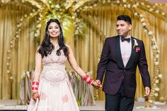 Indian bride and groom portrait at their reception wedding.