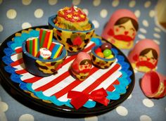 Sugar Russian Dolls that actually nest, complete with sweets and mini cake