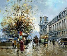 Les quais du Louvre par Antoine Blanchard (1910 - 1988)