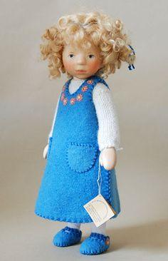Blond Girl In Blue Felt DJ032 by Elisabeth Pongratz at The Toy Shoppe