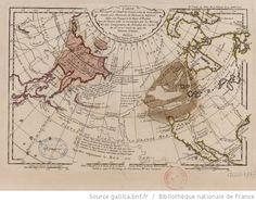 Carte des Découv[er]tes de l'am[ir]al de Fonte selon la carte angloise donnée par l'écrivain du vaisseau La Californie dans son voyage à la baye d'Hudson avec les terres vuës et reconnues par les Russes et une comparaison du résultat des cartes du 16e et 17e siècle au sujet du détroit d'Anian / dressée par Philippe Buache - 1