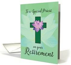 Priest Retirement, Lotus Flower on Green Cross card (1452316)