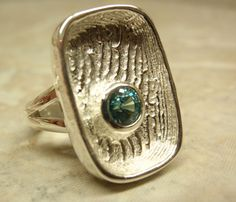 Natural Blue Zircon Sterling Silver Ring Cuttlebone by cutterstone, $280.00