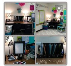 I love this ladies smart board area and damask lamp