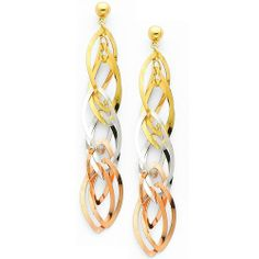 14K 3 Tri-Color Gold Twisted Dangle Hanging Earrings with Pushback for Women Goldenmine. $144.00. Simply Elegant.... Beautifully manufactured using up-to-date manufacturing techniques to ensure excellent quality and value. This item showcases a high polish finish for stunning sparkle and pop!. Promptly Packaged with Free Gift Box...Perfect for Gift Giving. Completely redesigned and revamped for the year 2012. Save 55% Off!