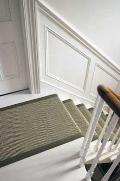 White painted stairs with a runner - Lovely!!!