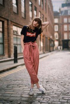 Eunoia  Corduroy High Waist Paperbag Top Trousers in Rose Pink Paperbag  Pants 14d3a547e9