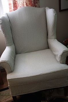 Ticking stripe slipcover for wingback chair...would love this on my wing chair for the summer