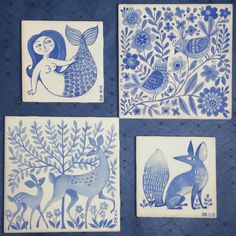 Blue and white tiles. Unfired