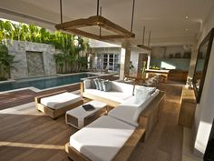 Canggu Vacation Rental - VRBO - 4 BR Bali Villa in Indonesia, Pantai Indah Villas - Discreet Luxury by the Sea Outside Living, Outdoor Living Areas, Indoor Outdoor Living, Outdoor Rooms, Outdoor Furniture Sets, Deck Furniture, Style At Home, Roof Truss Design, Tropical Houses