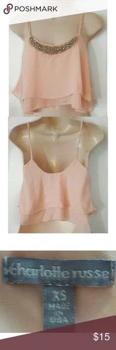 Light Pink Crop Top with Sequins Size XS New without Tag A Bit Sheer. Charlotte Russe Tops Crop Tops