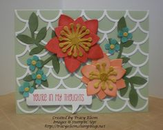 Using Striped Scallop Thinlit (new for 2014) as a trellis for flowers made using the Flower Frenzy Bigz die (new for 2014) from Stampin' Up!  http://tracyelsom.stampinup.net