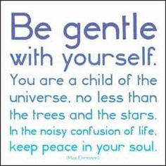 """""""Be gentle with yourself. You are a child of the universe, no less than the trees and the stars. In the noisy confusion of life, keep peace in your soul."""" Keep peace. (portion of The Desiderata by Max Ehrmann) The Words, Cool Words, Yoga Quotes, Words Quotes, Me Quotes, Sayings, Great Quotes, Quotes To Live By, Inspirational Quotes"""