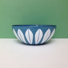 Vintage Cathrineholm Blue with White Lotus Enamel Bowl 5.5 in.