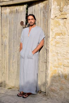 Cloudy grey mens long tunic. Prewashed super soft linen caftan. Short sleeved with pocket.