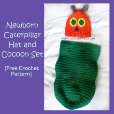 Newborn Caterpillar Hat and Cocoon {Free Crochet Pattern}