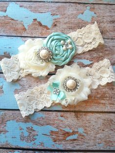 Wedding garter SET / Tiffany blue / Design your own  / wedding garters/ bridal  garter/  lace garter / toss garter / vintage lace garter. $24.99, via Etsy.