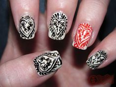 indian sari inspired valentines day nail art