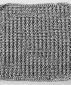 Front Post Double Crochet around Single Crochet Square for Checkerboard Textures Throw