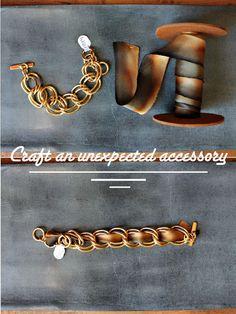 Vintage Chain Bracelet & Dyed Silk Ribbon from The Paris Market & Brocante