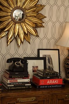 I really like this trellis pattern - maybe you could replicate it with a sharpie?  Looks great with the starburst mirror.