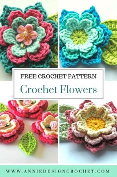 Crochet Square Pattern Blooming Crochet Flowers and Leaves – Free Crochet Pattern – Annie Design Crochet Crochet Square Pattern, Crochet Motifs, Crochet Stitches, Crochet Table Runner Pattern, Crochet Appliques, Square Patterns, Beau Crochet, Crochet Baby, Knit Crochet