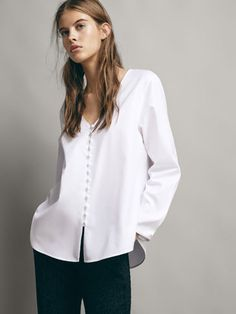 f426c3392b7 COTTON SHIRT WITH LINED BUTTONS - Women - Massimo Dutti