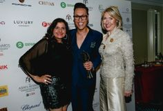 Godiva's Vice President of International Marketing, Inge Heinsius, presented Gok Wan with an award for 'Outstanding Achievement in Television' at Friday's The Asian Awards. Image also features Nina Wadia.
