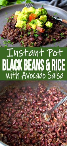 Instant Pot Black Beans & Rice When you just don't know what to make for dinner, this recipe for Instant Pot Black Beans and Rice with a fresh avocado salsa swoops in to save the day! 268 calories and 6 Weight Watchers SP Vegan Budget, Healthy Recipes On A Budget, Healthy Dishes, Budget Meals, Vegan Recipes Easy, Cooking Recipes, Bean Recipes, Vegan Dishes, Healthy Eats
