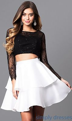Formal Short Two-Piece Lace Bracelet Sleeve Dress