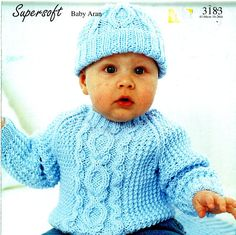 Original Baby Boy Knitting Pattern Sirdar 3183 Blue ARAN