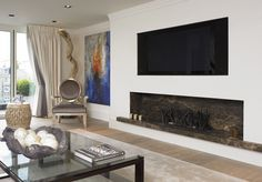 #DarkEmperador #marble used within feature #fireplace