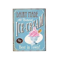 """Tabliczka metalowa """"Dairy made Ice-cream"""" 69.00zł"""