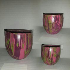 1 purple green and pink candle holder