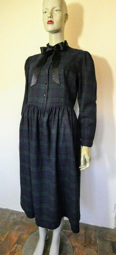 LAURA ASHLEY Navy Tartan Dress, S 16 Vintage Clothing, Vintage Dresses, Vintage Outfits, Laura Ashley Vintage Dress, Tartan Dress, Flare Skirt, Etsy Vintage, Pretty Dresses, Archive
