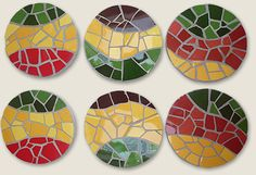 mosaic coasters--love the flowing blocks of color