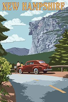 New Hampshire  Old Man of the Mountain and Roadway 16x24 Giclee Gallery Print Wall Decor Travel Poster *** Check out the image by visiting the link.
