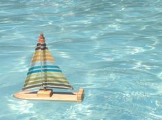 Fun Stripes Wooden Sailboat by TweetToys on Etsy, $20.00