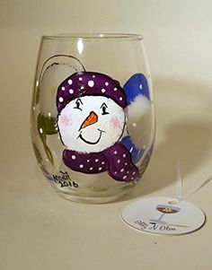 Amazon.com: Hand Painted Snowman Stemless Wine Glass: Handmade