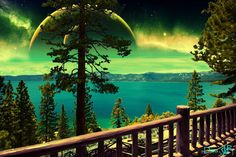 #surrealism #alien #space #universe #planets #green #view #lake #water #pinetree #collage #art #photoshop #nature Alien Worlds, Lake Water, Collage Artists, Surreal Art, Digital Collage, Art Day, Surrealism, Planets, Northern Lights