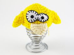Yellow Canary Cozy EGG Warmer Crochet Wool Egg Cup by cocodollz