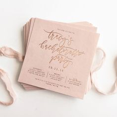 This blush and rose gold letter pressed invitation to a bachelorette party looks beautiful.